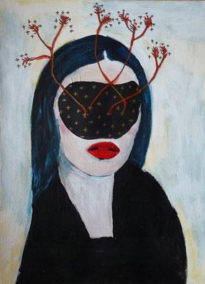 Sans visage II, 2016, technique mixte sur papier, 29,7 x 42 cm.
