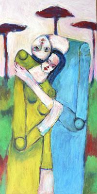 Le couple, 2017, acrylique sur toile, 40 x 80 cm.
