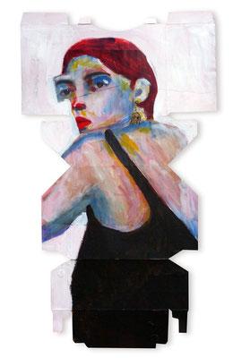 Femme de trois quart, 2018,  acrylique et collage sur emballage, 51 x 29,5.