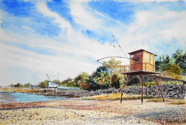 Les carrelets de Gironde - aquarelle - 50 x 40