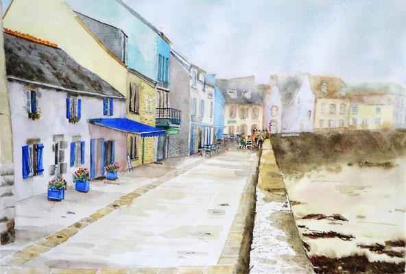 L'île de Sein - aquarelle - 70 x 50