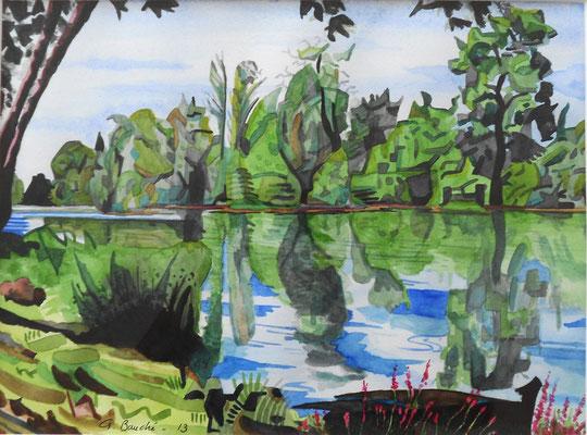 Rivière cubiste - aquarelle - 50 x 40