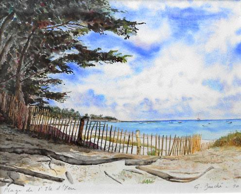 Plage de l'île d'Yeu - aquarelle - 60 x 50