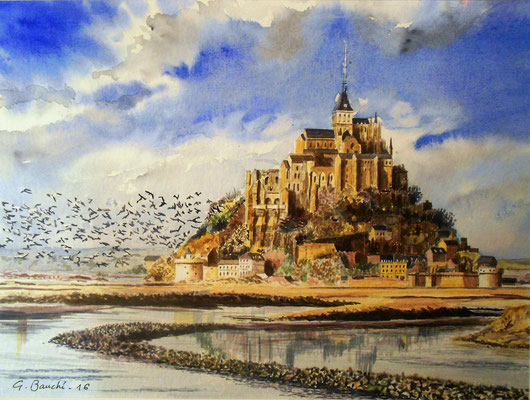 Le Mont-Saint-Michel - aquarelle - 50 x 40