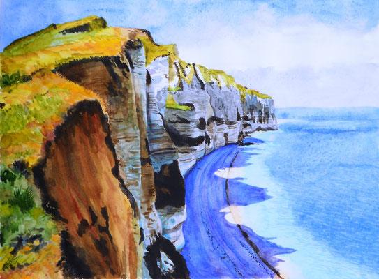 Falaises normandes - aquarelle - 50 x 40