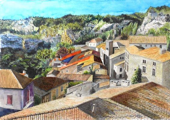Les Baux-de-Provence - aquarelle - 77 x 62