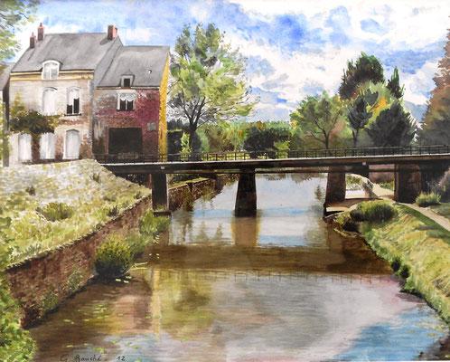 Pont sur la rivière Oudon - aquarelle - 66 x 57