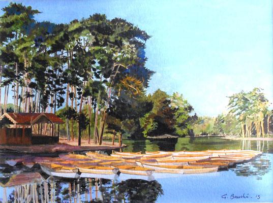 Bois de Vincennes - Les barques du lac Daumesnil - gouache 50 x 40