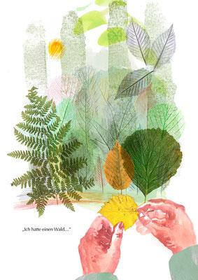 """""""Ich hatte einen Wald…"""" - Mischtechnik: Aquarell, Frottage, Collage"""