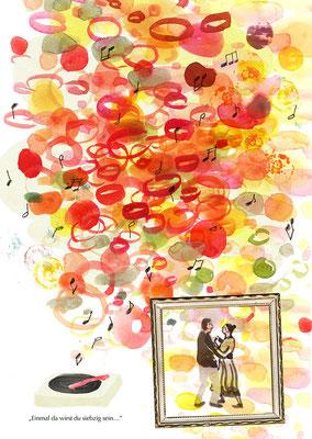 """""""Einmal da wirst du siebzig sein…"""" - Mischtechnik: Aquarell, Bleistift, Collage"""