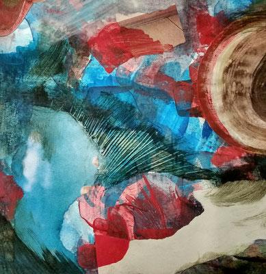 Gouache, Acryl, Zeitungsschnipsel - ca. 25x25 cm