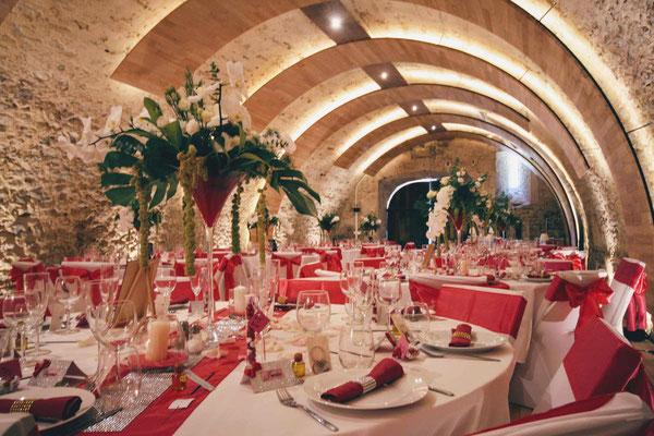 Les voûtes de la salle de réception du Château de Born dans le Lot & Garonne en Nouvelle Aquitaine