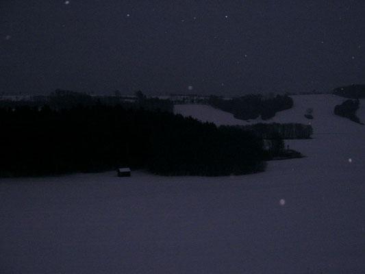 Hütte Bob Ross Winter Abend nervenkeks Schnee schneien