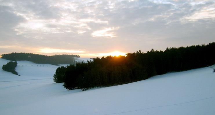 Sonnenaufgang Winter Wald nervenkeks