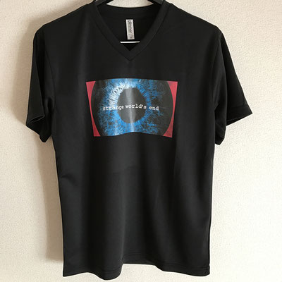 【NEW GOODS①】  strange world's end 『やっぱり、お前が死ねばいい。』 リリースツアー限定 ドライVネックTシャツ color / ブラック SS / S / M / L  ¥2,500
