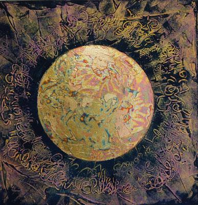 """""""Sonne"""" mit Blattgold 50x50cm Verkauft"""