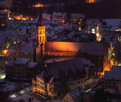 Amanduskirche bei Nacht; Bad Urach