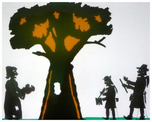 """Der """"Altvaterbaum"""" und eine weise Frau die ein Kind zwecks Heilung durch die Baumhöhlung führt."""