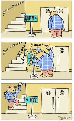 Anregung zum Treppenlaufen. Comic für die Generaldirektion BSS, Stadt Bern