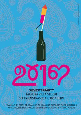 Flyer für eine Sylvester Party mit tamilischem Essen in der Villa Stucki, Bern