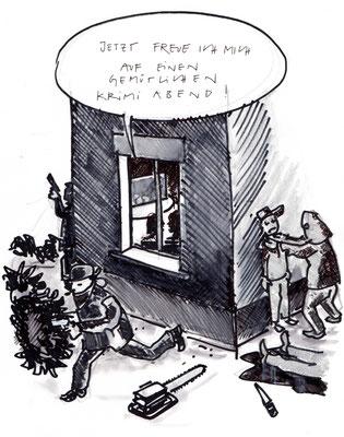 """Cartoon zum Thema """"Tatort"""""""