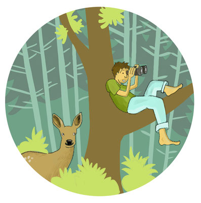 """Illustration """"bist du ein Waldkind"""" für die Broschüre """"Pestalozzipfad Burgdorf"""", Pro Natura"""