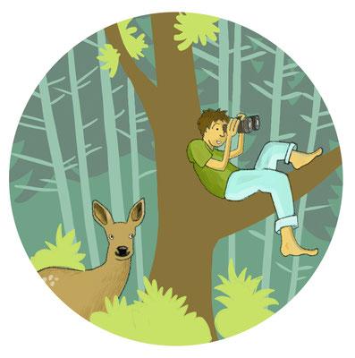 """Illustration """"bist du ein Waldkind?"""" für die Broschüre """"Pestalozzipfad Burgdorf"""", Pro Natura"""