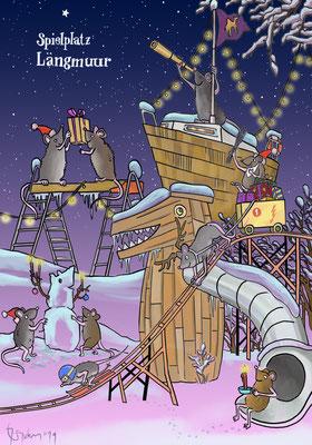 Weihnachtskarte für den Abenteuerspielplatz Längmuur in Bern
