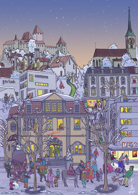 """Wimmelbild für eine Weihnachtsaktion der Detaillistenvereinigung """"Pro Burgdorf""""."""