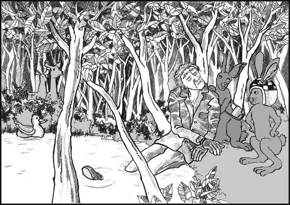 Häsin Mels und Hase Fitz, Illustrationen zu einem Kinderbuch von Christoph Simon, Kyrene Verlag Innsbruck