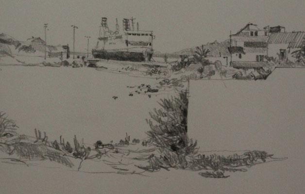 Fähre im Hafen von Ile Rousse