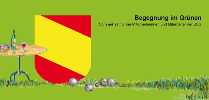 Frontseite Einladung zu einem Fest der Direktion BSS, Stadt Bern