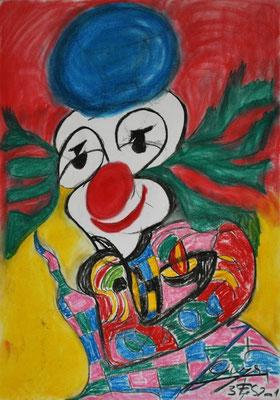 Clown, 70x100 cm, Kohle / Kreide auf Papier