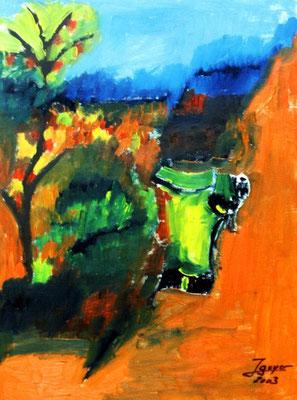 Stier auf Weide, 42x56 cm, Öl auf Papier
