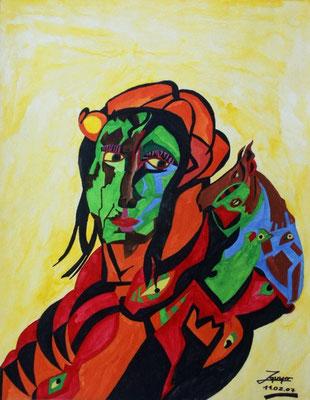 Waldfrau, 50x64 cm, Aquarell auf Papier