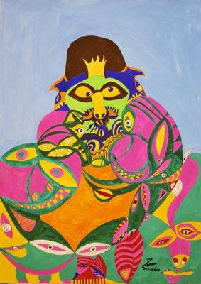 Der Froschkönig, 50x70 cm, Tempera auf Papier