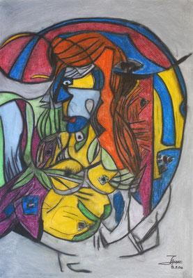 Meerjungfrau III, 70x100 cm, Kohle / Kreide auf Papier