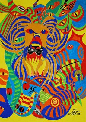 Leo, der Löwe, 100x120 cm, Tempera auf Leinwand