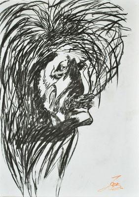 Einstein, 42x59 cm, Kohle / Kreide auf Papier