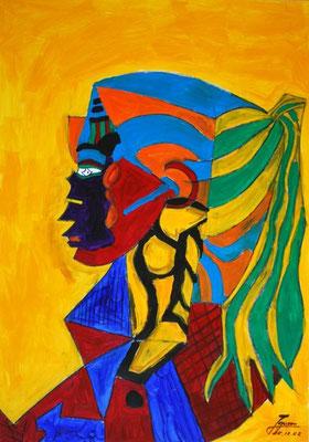 Die Indianerin, 70x100cm, Acryl auf Papier