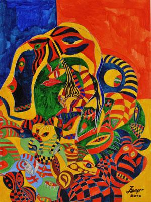 Bunte Welt, 43x56 cm, Aquarell auf Papier