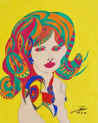 Poertrait einer Frau, 50x64 cm, Aquarelll auf Papier