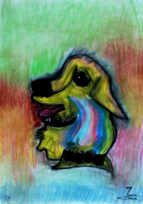 Hund, 70x100 cm, Kohle / Kreide auf Papier