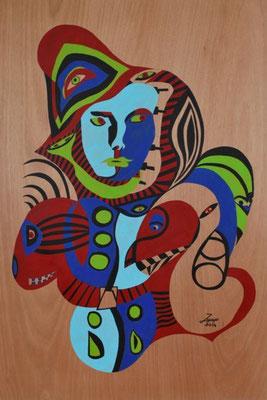 Der Söldner, 84x124cm, Acryl auf Holz