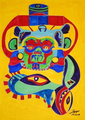 Göttermaske, 50x70 cm, Aquarell auf Papier
