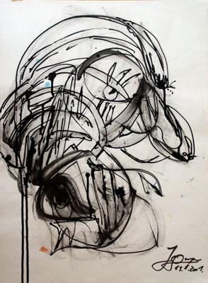 Mißtrauen, 42x59 cm, Tusche auf Papier