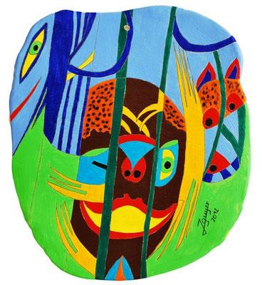 Im Dschungel, 22x25cm, Keramikplast
