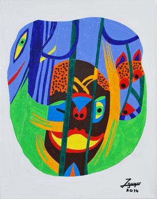 Im Dschungel, 40x50 cm, Tempera auf Leinwand