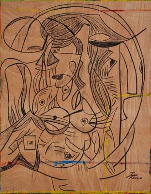 Meerjungfrau V, 72x92 cm, Kohle auf Holz