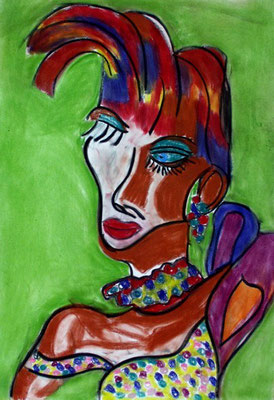 Madam Pompadour, 70x100 cm, Kohle / Kreide auf Papier